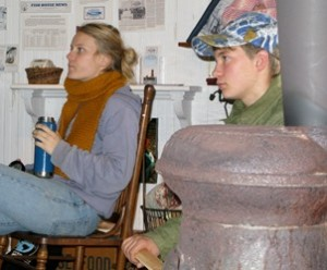 They gathered around the old pot-bellied stove in Ocracoke to learn how to save the oyster. Photo: Pat Garber