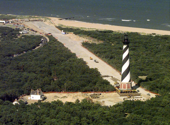 Cape Hatteras Lighthouse immediately after it's 1999 move.