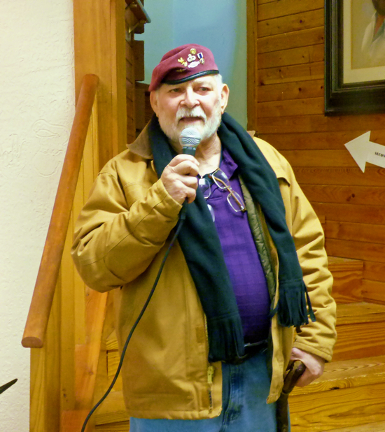 Glenn Eure speaking at this year's Frank Stick Memorial Art Show.