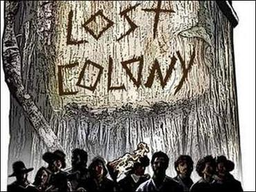 words lost colony carved in tree