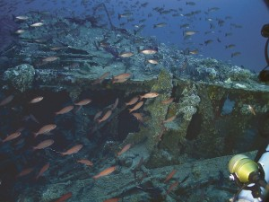 NOAA image of the USS Monitor on the seabed.
