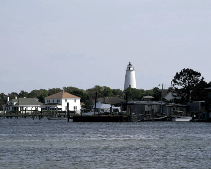 View of Ocracoke Lighthouse from Silver Lake. Photo NPS