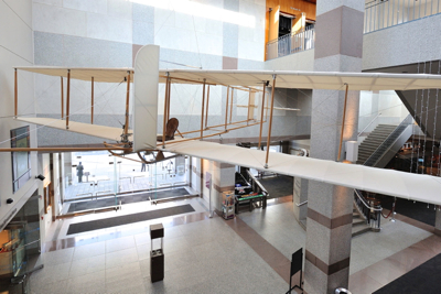 The glider replica in the atrium of the N.C. Museum of History.