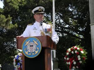 Commander David Trudeau, Canadian Naval attache, addresses the crowd.Photo, Connie Leinbach.