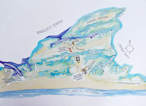 Map showing location of Hatteras Island Ocean Center. Image, Hatteras Island Ocean Center.