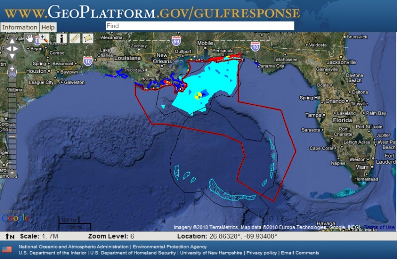 Dept. of Commerce map showing extent of BP/ Horizon oil spill and beaches affected in the Gulf of Mexico, 2010