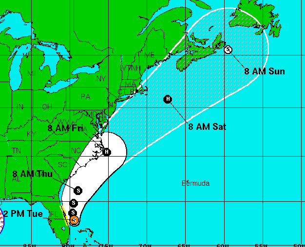 Tropical Storm/Hurricane Arthur's storm track as of 11:00 a.m. 7/1. Image, National Hurricane Center