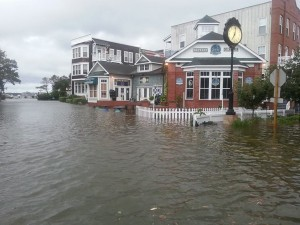 Downtown Manteo, corner of Queen Elizabeth and Budleigh. Credit, Town of Manteo