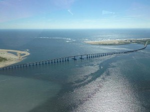 Bonner Bridge spanning Oregon Inlet. If NC budget passes as written, provisions would effect the fate of both.