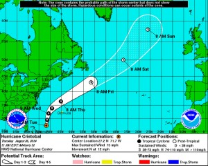 National Hurricane Center track for Hurricane Cristobal, Tuesday, 8/26, 11 a.m.