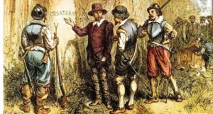 """Governor John White retuning to the Lost Colony to discover the only clue, the word """"Croatan"""" carved into a tree."""