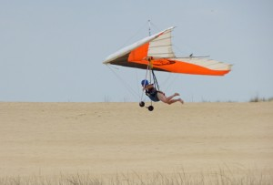 Scene from 2014 Kitty Hawk Kites Hang Gliding Spectacular, the oldest hang gliding competition in the world. Photo, Kip Tabb