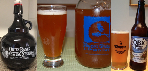 Beer from the three Outer Banks craft brewers: Outer Banks Brewing Station, Full Moon Cafe and Weeping Radish.