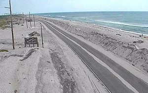 Screen shot of the NC12 just north of Rodanthe. The power lines on the left side will have to be moved if NCDOT and the SELC opt for a 7 mile bridge in the sound.