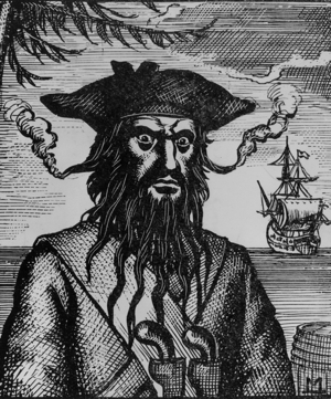 Blackbeard the Pirate from an etching.