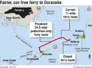 Proposed ferry routes if passenger ferry becomes reality. Source NCDOT