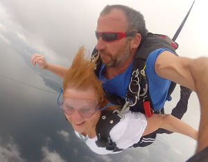 Manteo elementary school teacher, Allison Rollinson, skydiving with Skydiving OBX.
