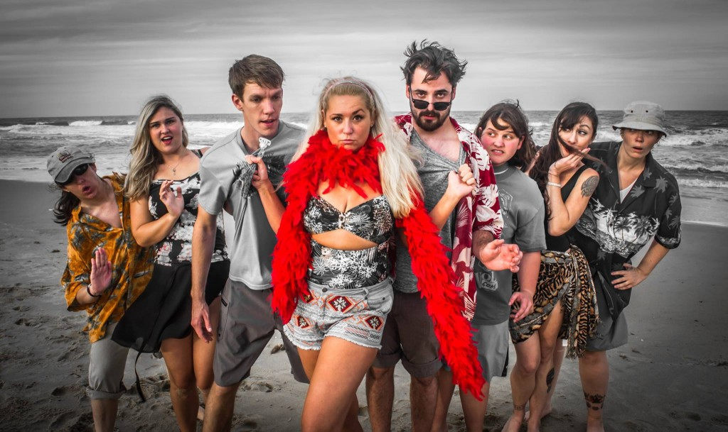 The Cast of Psycho Beach Party (L-R) Beth Egbert, Ana Figiel, Tim Roy, Lauren Taylor, Daniel Ziegler, Addie Moore, Betsy Head, Lara Parks (Not pictured: Julia Ashcheulova, Mike Mazza.)