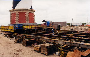 The Cape Hatteras Lighthouse on rails as it was being relocated in 1999. Photo, Island Free Press