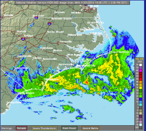 National Weather Service radar at 3 p.m. showing gathering storm.