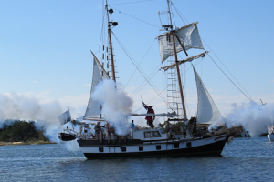 Blackbeard's Queen Anne's Revenge battles it out with Captain Maynard once again. Photo, Connie Leinbach