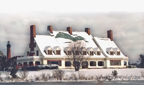 Whalehead Club after a snowfall.
