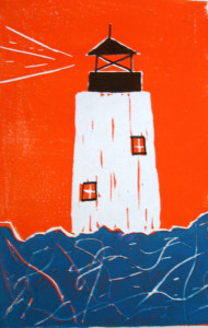 Lighthouse print by Ocracoke student Josie Winstead.