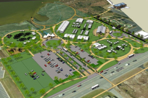 Aerial rendering of the Dare County Tourism Board Event Site in Nags Head. Image Outer Banks Visitor's Bureau.