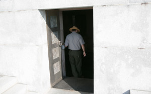 A park ranger walks inside a North Carolina memorial
