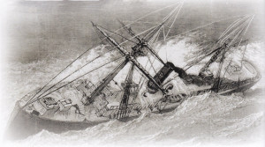 Rendering of the sinking for the Metropolis off the Currituck Banks Coast, 1878. The lighthouse was burning but was too far from the wreck to give adequate aid.