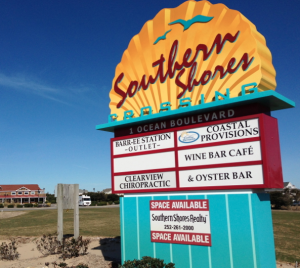 sign at southern shores crossing