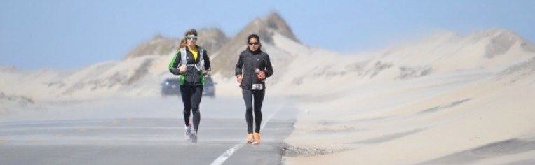 runners on highway 12, hatteras island