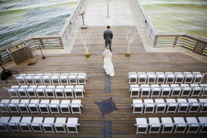 wedding couple on pier