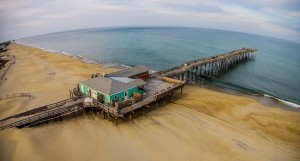 aerial photo of outer banks pier
