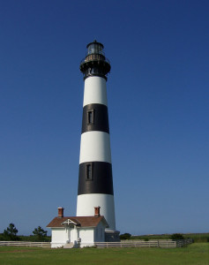 The real Bodie Island Lighthouse. The Lighthouse in the linked article is the Cape Henry Lighthouse.