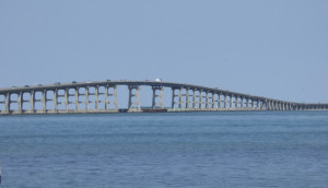 Bonner Bridge from the south side of Oregon Inlet.