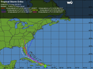 Not out of the woods yet. Most models take Erika over Florida, but at least one continues to show a coastal storm. Source: Weather Underground