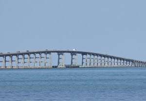 Bonner Bridge from the south point of Oregon Inlet.