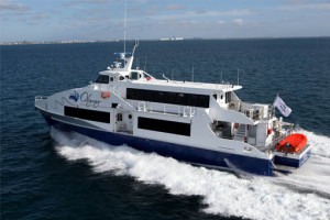 An example of a passenger only high-speed ferry. Ferry pictured has a 138 passenger capacity and can cruise at 36 knots.