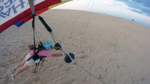 Edie Holsopple in flight. Photo Kitty Hawk Kites