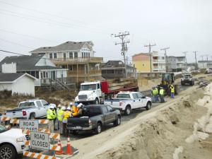 NCDOT crews getting ready to fix the road. Photo Kip Tabb