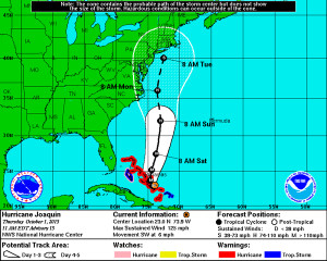 National Hurricane Center forecast map at 11:00 a.m. 10/1.