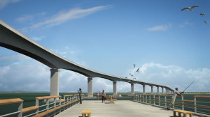 Rendering of Bonner Bridge replacement. Seen from the portion of the old bridge that will be retained as a fishing pier.