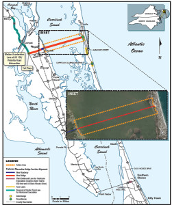 Proposed route of the Mid Currituck Bridge.