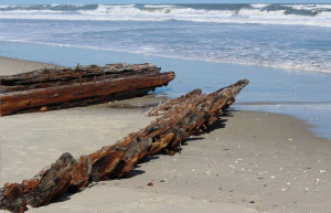 Shipwreck as it appeared after a 2008 storm.