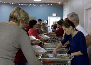 Serving Thanksgiving dinner at Liberty Church.