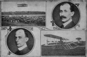 The Wright Brothers and their flying machine. From Us Army Archives. Probably taken at Virginia Beach.