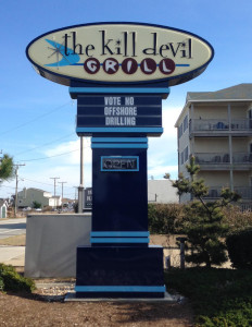 The sign is typical of local feelings on offshore drilling. Photo, Dave DeWitt, WUNC
