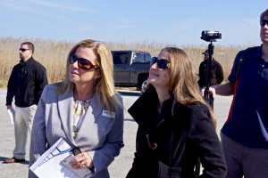 Beth Midgett and Natalie Kavanagh Bridge Moms at replacement for the Bonner Bridge groundbreaking. Photo, Outer Banks Voice.