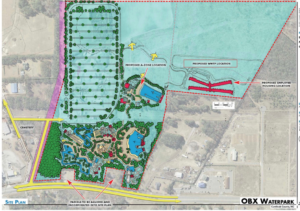 Site plan for water park in Harbinger as presented by Aquatic Design Group.
